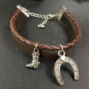 Country Western Bracelet Silver Boot & horse shoe